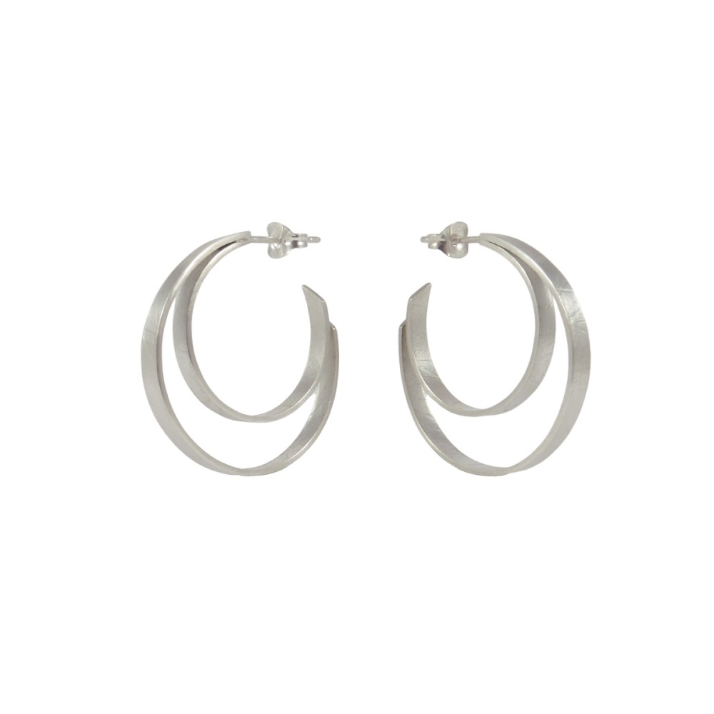 Folded Silver Double Hoops