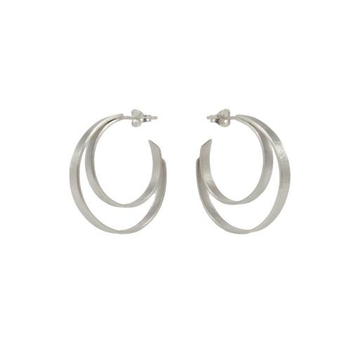 Folded Silver Double Hoops by Alice Barnes Jewellery