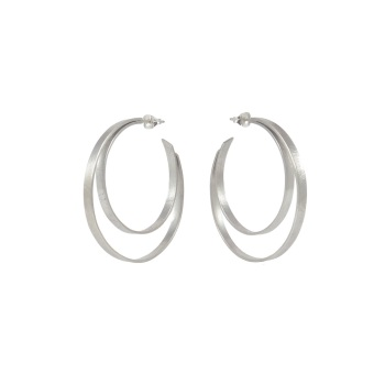 Folded Silver Large Double Hoops