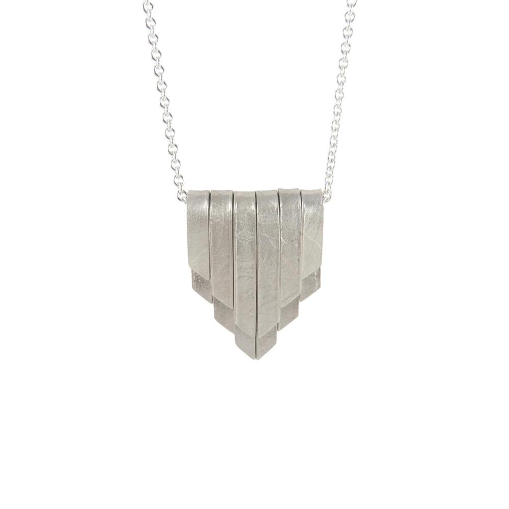 Folded Silver Deco Pendant