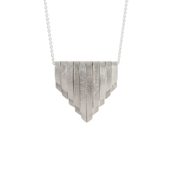 Folded Silver Large Deco Pendant
