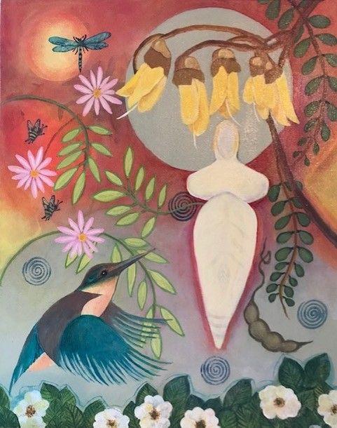 Seed Art Gift Card - Kotare and Kowhai Card