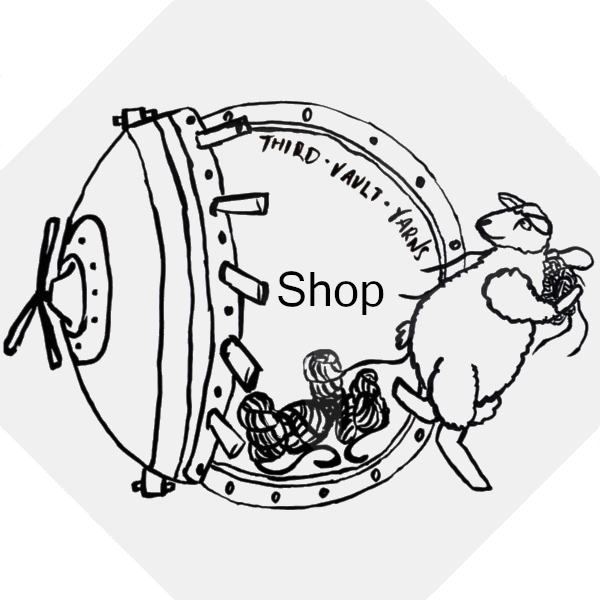 Third vault yarns logo, Sheep running away from bank vault containing the word Shop, links to the shop.