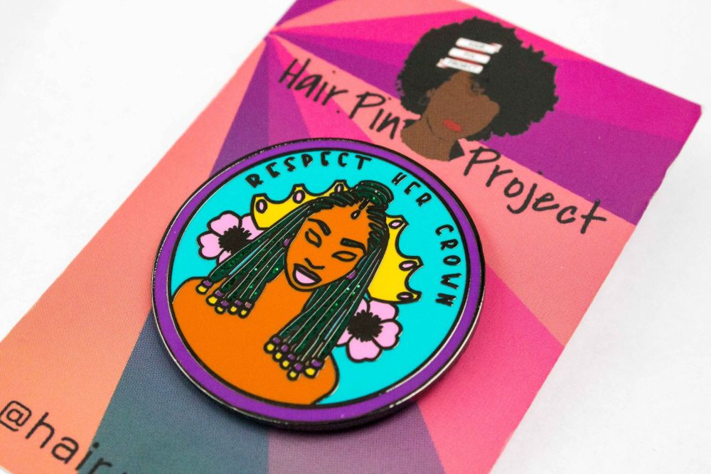 PRE- ORDER - Respect Her Crown enamel pin - Hair.Pin Project