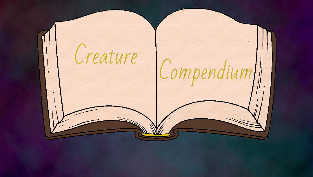 An open cartoon book one a purple misty background, with the words Creature Compendium