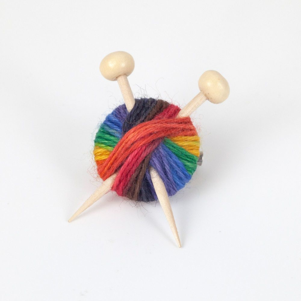 Knitting Pride Yarn Brooch
