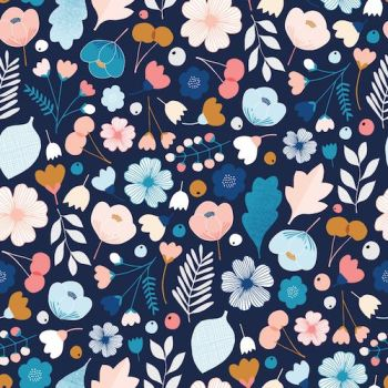 Dashwood Studios Millefleur Navy Flowers