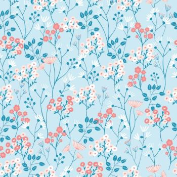 Dashwood Studios Millefleur flowers pale blue