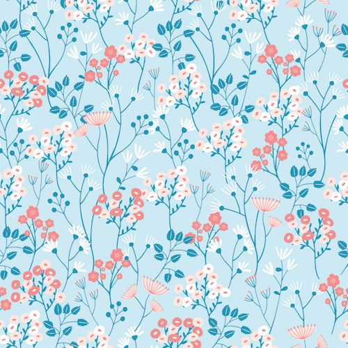 Dashwood Studios Millefleur flowers pale blue