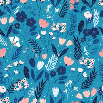 Dashwood Studios Millefleur mid blue flowers