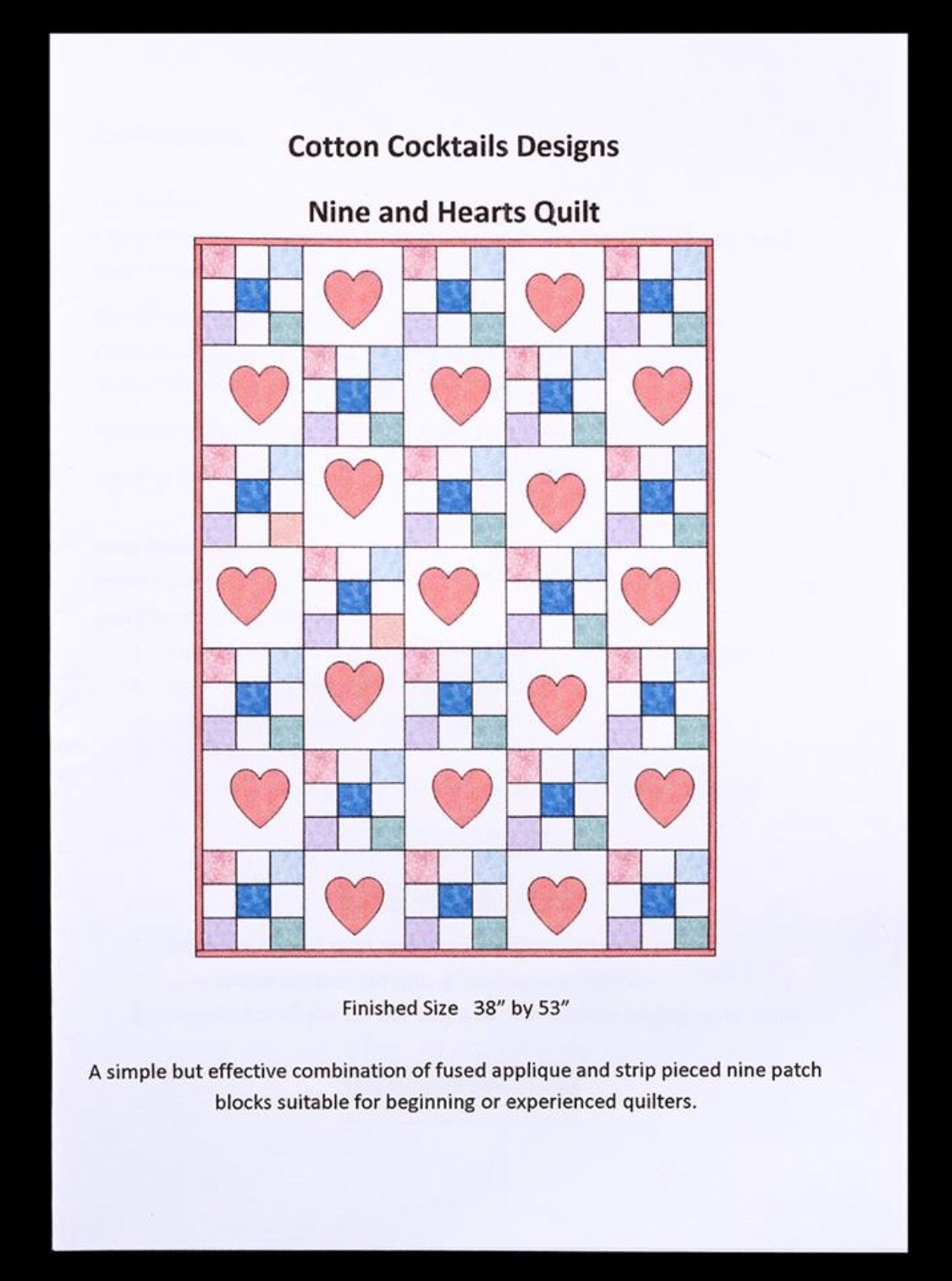 Nine and Hearts Quilt Pattern