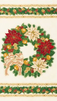 SALE: Wreath Christmas Panel: Holiday Flourish with pattern for table topper and place mats