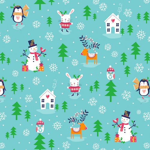 Merry Little Christmas Penguins Turquoise