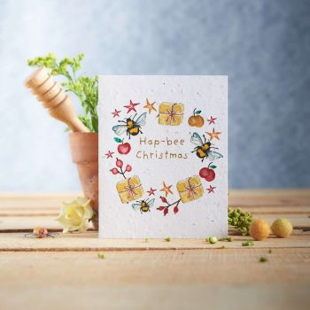 Hap-Bee Christmas Card by Hannah Marchant