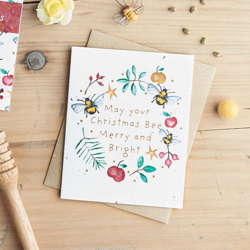 May Your Christmas Bee Merry and Bright Card  by Hannah Marchant