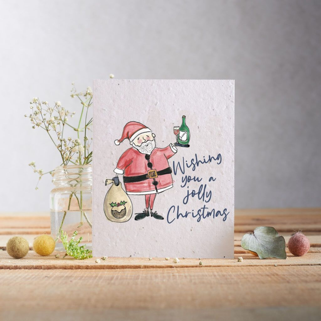 Wishing You a Jolly Christmas Card by Hannah Marchant