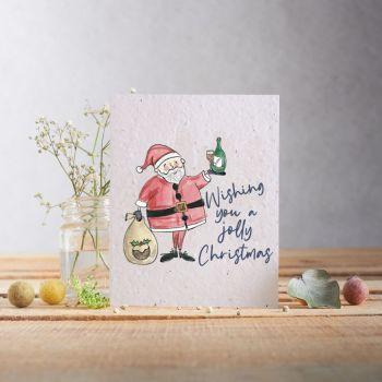 Santa Wishing You a Jolly Christmas Card by Hannah Marchant