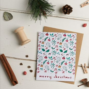 Christmas Leaves (White) Merry Christmas Card by Hannah Marchant
