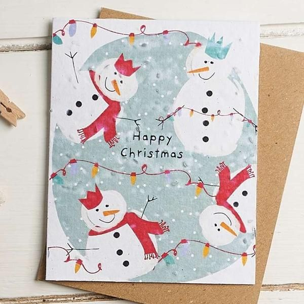 Happy Christmas (Snowmen) Card by Hannah Marchant