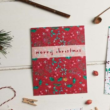 Christmas Leaves (Red) Merry Christmas Card by Hannah Marchant