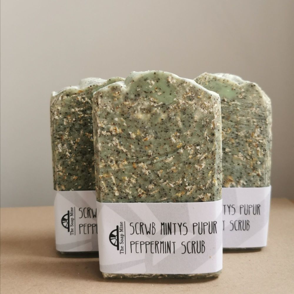 Peppermint, Oatmeal and Apricot Stone Soap