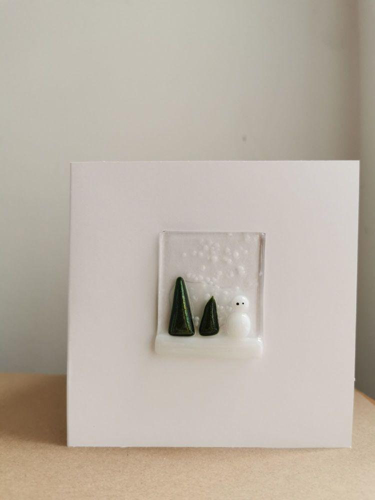 Snowman Fused Glass Card by Faye Trevelyan