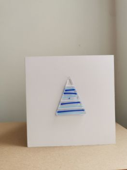 Christmas Tree (Tinsel) Fused Glass Card by Faye Trevelyan
