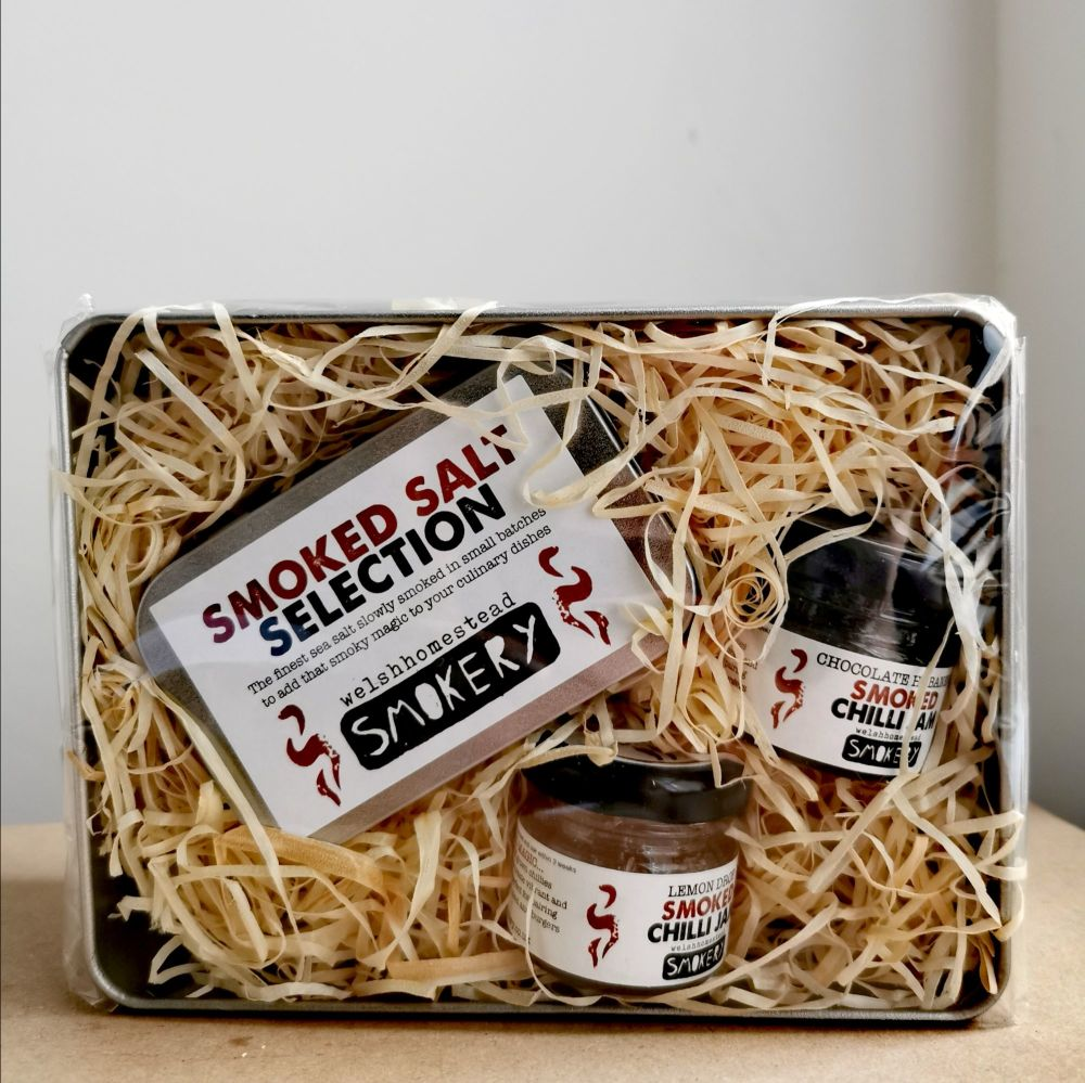 Smoked Chilli Salt and Jam Gift Set by Welsh Homestead Smokery