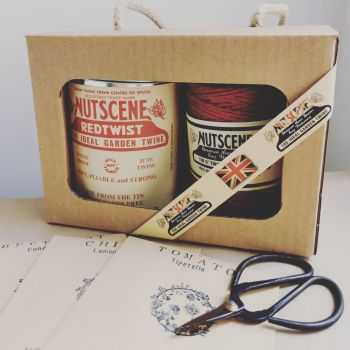 Twine Tin Gift Set With Scissors and 3 Packets of Seeds