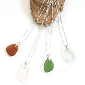 Sea Glass Pendant and Chain by Seapig