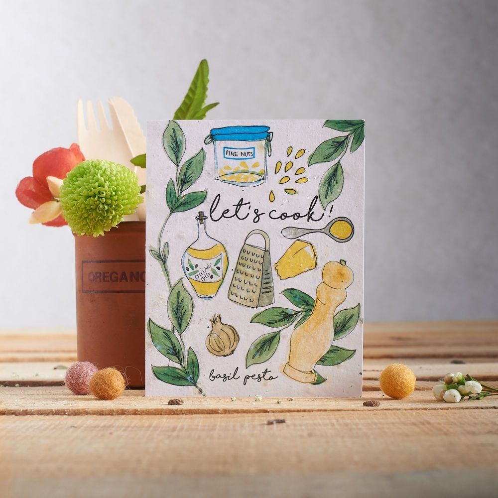 Let's Cook Basil Pesto Card by Hannah Marchant
