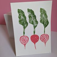 Candied Beetroot Lino Print by Ellie Edwards Lino