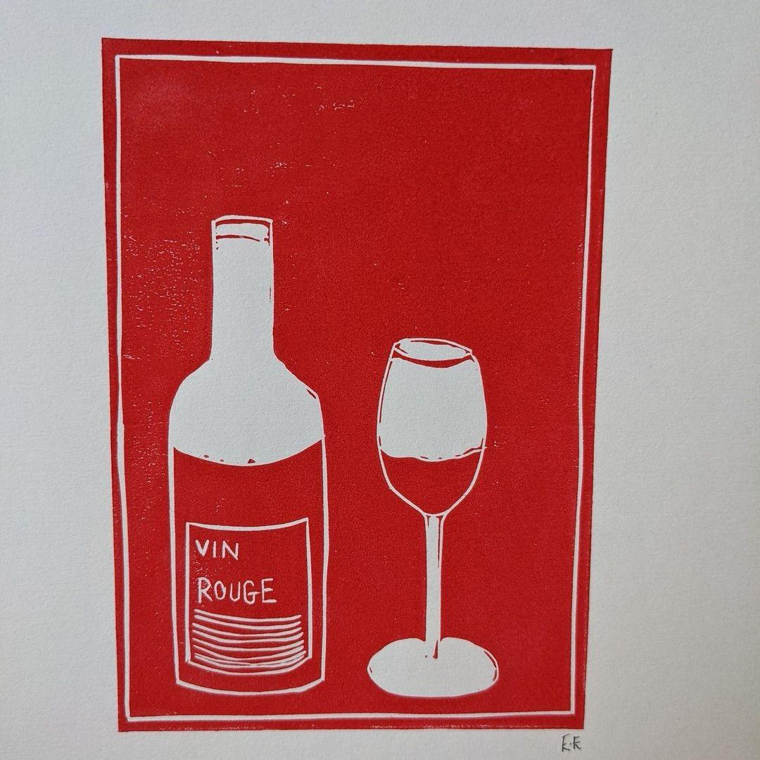 Red Wine Lino Print by Ellie Edwards Lino