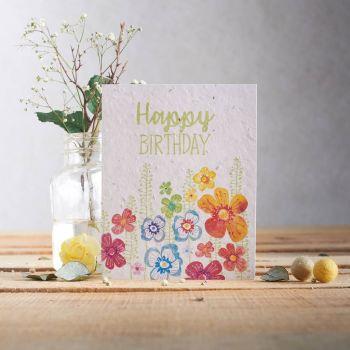 Happy Birthday Bright Flower Border Card by Hannah Marchant