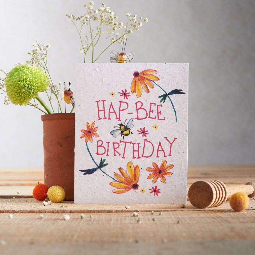 Hap-Bee Birthday Card by Hannah Marchant