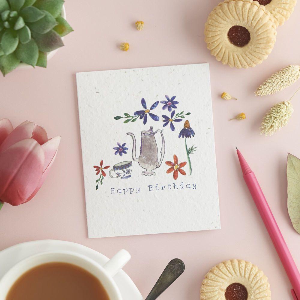 Happy Birthday Chamomile Tea Card by Hannah Marchant