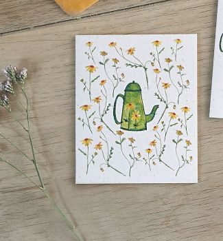 Chamomile Tea Pot and Flowers Card by Hannah Marchant