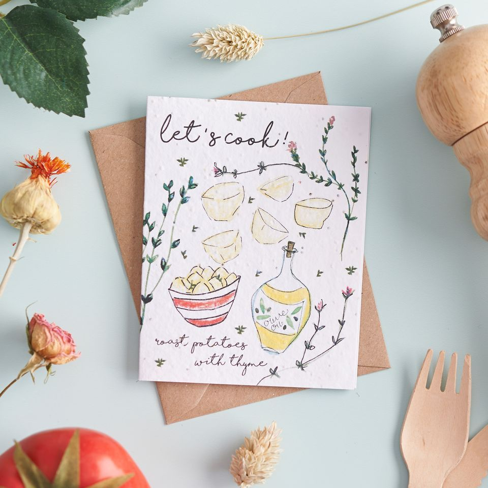 Let's Cook Roast Potatoes with Thyme Card by Hannah Marchant