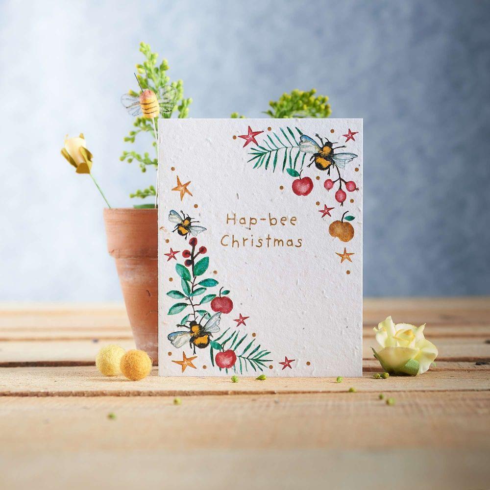 Hap-Bee Christmas Wreath Card by Hannah Marchant