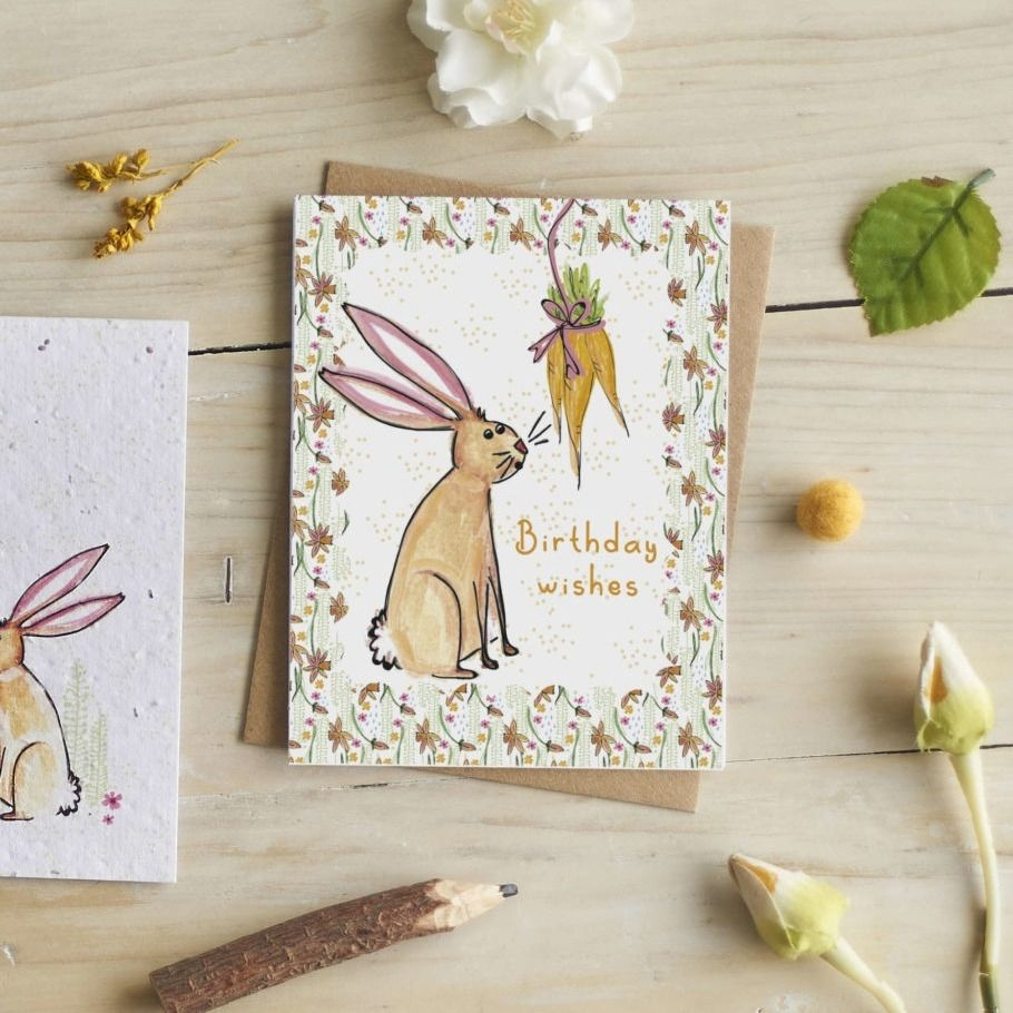 Rabbit Birthday Wishes Card by Hannah Marchant