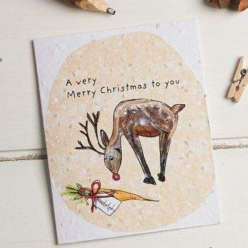 Rudolph Wishing You A Very Merry Christmas Card by Hannah Marchant