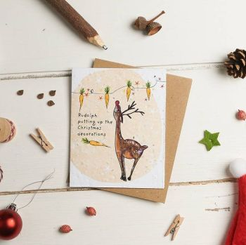 Rudolph Putting Up The Decorations Card by Hannah Marchant