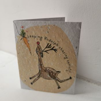 Leaping Rudolph Chasing Carrots Card by Hannah Marchant