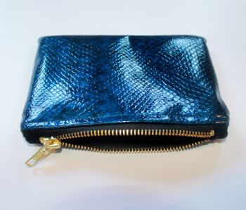 Blue Faux Snake Skin Leather Coin Purse