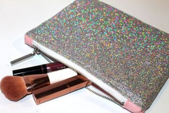 Silver Holographic Glitter make up bag