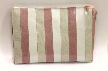 Strawberry & Cream striped Glitter Make Up Bag