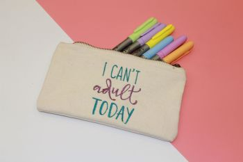 I can't Adult Today Canvas Makeup Bag Small