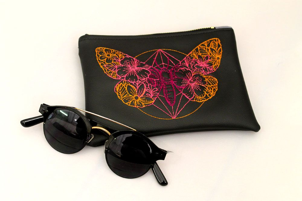 Butterfly Faux Leather Pouch