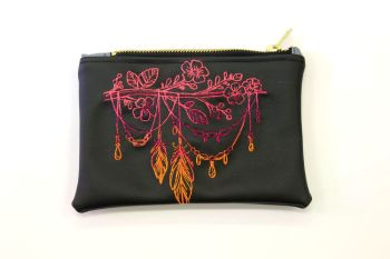 Feather branch Faux leather Make Up Bag