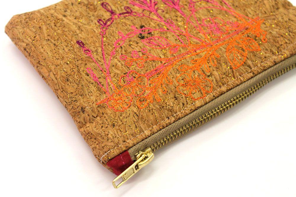 Cork Feather Branch Makeup Bag